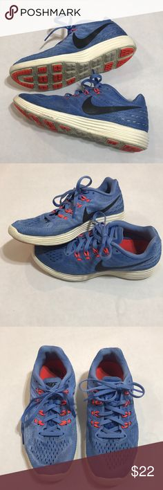 Nike lunar tempo 2 blue mesh sneakers size 6.5 Women's Nike sneakers size 6.5. Lunar tempo 2 mesh, lightweight sneakers. Blue, black, and neon pink accent. Great used condition- minor wearing! Nike Shoes Sneakers