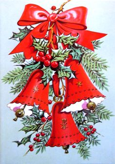 Vintage Christmas Card with bells and bows.