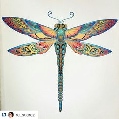 Take a peek at this great artwork on Johanna Basford's Colouring Gallery! Dragonfly Wall Art, Dragonfly Tattoo Design, Dragonfly Clipart, Zentangle, Art Plastic, Coloring Books, Coloring Pages, Colouring, Enchanted Forest Coloring Book