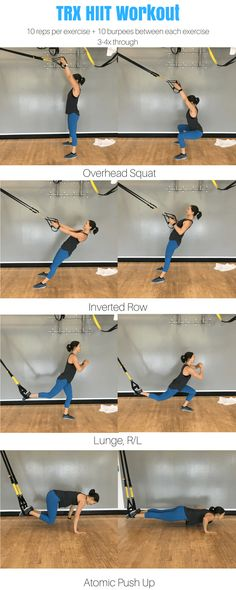Full body TRX HIIT workout for women. TRX workout for beginners. TRX workout at home.