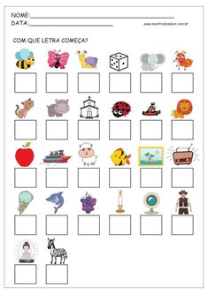 2 - Atividades com Alfabeto Preschool Worksheets, Preschool Learning, Kindergarten Math, Classroom Activities, Preschool Activities, Letter Worksheets, Portuguese Lessons, Pre School, Phonics