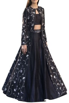 Raw silk embroidered long jacket with blouse & lehenga
