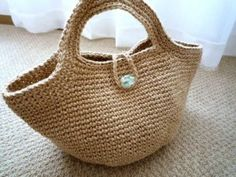 Hand Crochet Hemp string Bag with Glass Bead