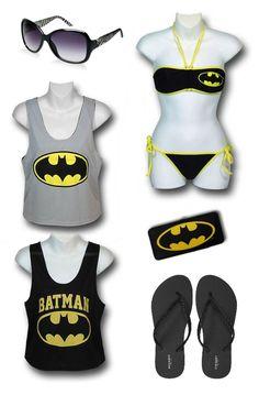 "FOR THE BEACH: ""Batman"" beach outfit by Mary Huth Batman Women's Reversible Tank: http://www.superherostuff.com/batman/tank-tops/batman-womens-reversible-mesh-tank-top.html?itemcd=tankbatwmnath Guess Shades: http://www.sunglasshut.com/us/715583615168 Flip-Flops: http://oldnavy.gap.com/browse/product.do?vid=1&pid=939698012 Ladies Batman Wallet w/Speaker: http://www.superherostuff.com/batman/wallets/batman-symbol-ladies-wallet-wspeaker.html?itemcd=walletbatsymspkr"