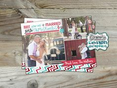 Printable Newlywed Holiday Photo Card: What a better way to showcase your favorite wedding photographs than with a holiday photo greeting card! Have yourself a Married little Christmas with three photos, banner with married name and ornament accents. by DazzleDesignGraphics