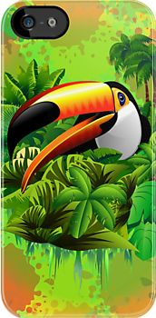 #Toucan on #Green #Wild #Green #Jungle #iPhone #Cases by BluedarkArt  http://www.redbubble.com/people/bluedarkart/works/10301537-toucan-on-green-wild-green-jungle?p=iphone-case  $30.62