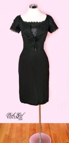 1950's Black Cotton Lace Up Fitted Dress- M