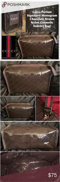 """Gucci Parfums Lg Signature Cosmetic Toiletry Bag! Gucci Parfums Signature Monogram Chocolate Brown Nylon Cosmetic Toiletry Bag! 100% authentic, Gucci """" GG"""" Signature Monogram design, dark brown, large size, travel / cosmeti / toiletry bag, nylon polyester material, top zipper closure, """"GUCCI"""" red & green pull. Great toiletry, travel piece! Measures 9 1/2"""" across x 6 1/2"""" high x 3 1/2"""" wide. Like New, condition! Offers welcomed! Gucci Bags Cosmetic Bags & Cases"""