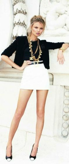 Black cropped blazer + White high waist mini