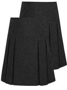 ccd00b9098 2 Pack Girls School Pleated Skirt ASDA £7 Pleated Skirt, Gray Skirt, Asda