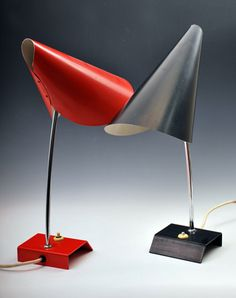 Josef Hurka; Chromed and Enameled Metal Table Lamps for Napako, 1960s.