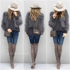 """""""#Reiss hat, #BCBG feather jacket, #Marni top, #JBrand jeans, #StuartWeitzman #Highland boots and #Hermès #Constance (size small, color Etain)."""""""