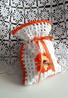 Crochet Sachet Handmade Pouch Cosmetics Pouch Small Bag Jewelery Pouch Bathroom Accessories Gift Bag Baby Shower Gift Wedding Accessories