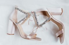 Shop these nude (hint of blush in certain light) jeweled block heels by Badgley Mischka. Bridal shoes, wedding day shoes, bridal heels, heels for grass, outdoor wedding shoes