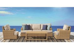 Leucadia Collection from Sunset West. Light transitional design with a bold straw colored weave. Very comfortable