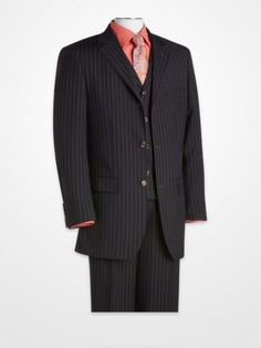 T-Fusion Navy Stripe Vested Suit | K Fashion Superstore