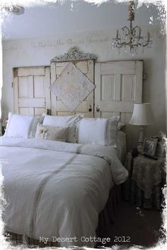 Love the DIY Shabby Door Headboard in this Shabby French Bedroom!  See More at thefrenchinspiredroom.com