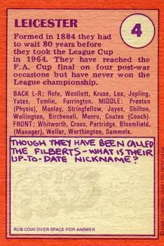 1974-75 A&BC Gum #4 Leicester City Team Back