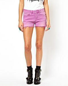 Denim Shorts in Washed Peony