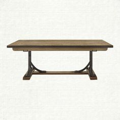 Love the rustic look, iron and oak. Arhaus Bendelle dining table.
