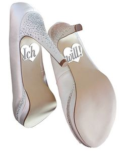 """Leuchtende """"Ich will"""" Sticker für die Brautschuhe. Erhältlich im Ja-Hochzeitsshop."""