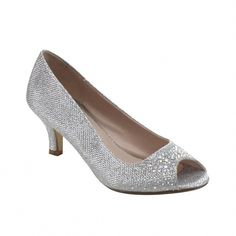 36e46428b5d Wonda-2 Womens Peep Toe Low Heel Glitter Dress Pumps - Silver - C111VXPD7T9