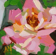 Pink Rose no. 12 original floral oil painting by Angela Moulton 5 x 5 inch on panel ready to ship April 1 by prattcreekart on Etsy https://www.etsy.com/listing/225712742/pink-rose-no-12-original-floral-oil