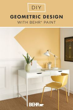 For a homemade accent wall that creates a modern style, check out this DIY geometric design project featuring BEHR® Paint in Charismatic. A rich shade of yellow, we love how it turns this home office nook into a cozy and inspiring space. This bright and cheery hue is also part of the BEHR 2020 Color Trends Palette, making it a chic addition to your home. Click below for the full tutorial.