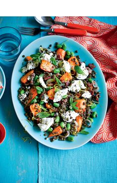 Warm carrot, ricotta and lentil salad