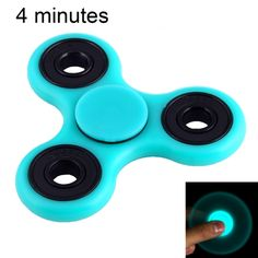 [$4.24] Fidget Spinner Toy Stress Reducer Anti-Anxiety Toy with Fluorescent Light for Children and Adults, 4 Minutes Rotation Time, Hybrid Ceramic Bearing + POM Material(Baby Blue)