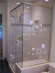 Etched glass vinyl shower doors bubbles decal stickers bathroom free p+p