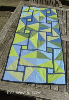 """Nicky from Mrs Sew and Sowsaid: """"Oakshott really are among my favourite fabrics! I love the colours, the sheen they have, the feel of them and also how they quilt but this pattern makes use of th..."""