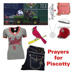 """Prayers for Piscotty~Read Description"" by rachelames21 on Polyvore featuring Dooney & Bourke, 5th & Ocean, Miss Me and Game Time"