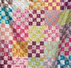 Lily's Quilts: Quick 16-patch quilt made with fat quarters