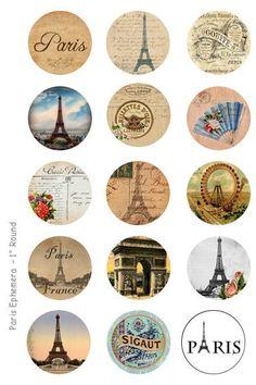 Paris Ephemera Bottle Cap Images - 4 x 6 Digital Collage Sheet - 1 inch Round Circles - INSTANT DOWNLOAD