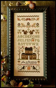 counted cross stitch pattern & charm : Autumn Band Sampler Little House Needleworks Thanksgiving autumn on Etsy, $12.40