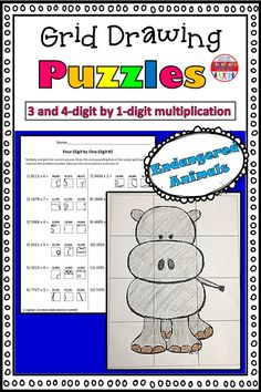 These grid drawings are a fun and creative way for your kids to practice their multiplication skills! Kids simply find the box that corresponds with the correct multiplication answer and transfer it into the square on the blank grid. Each page leads to a different picture of an endangered animal to color.  This set includes three pages of 3-digit by 1-digit practice, and three pages of 4-digit by 1-digit practice. Multiplication Grid, Multiplication Activities, Math Worksheets, 5th Grade Math, Second Grade, Kinesthetic Learning, Little Learners, Classroom Fun, Elementary Teacher