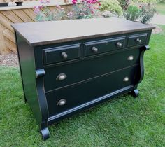 {createinspire}: Black Empire Dresser This would look great in a dinning room Painting Old Furniture, Furniture Fix, Building Furniture, Diy Furniture Projects, Refurbished Furniture, Repurposed Furniture, Furniture Makeover, Painted Furniture, Furniture Refinishing