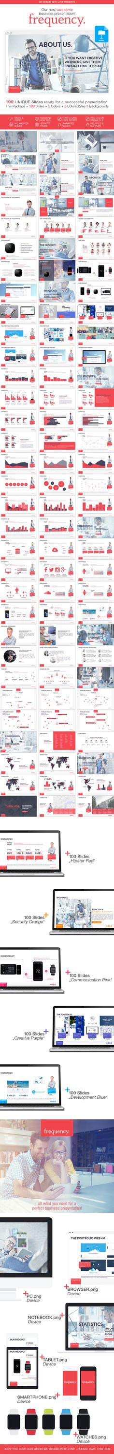 frequency. keynote presentation template 100 slides + 5 colors #keanote #template #business