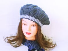 Women crochet beret, crochet women hat, dark denim, yarn beret, gray blue beanie, textured hat, free style hat, skull beret, gift under 35 - pinned by pin4etsy.com