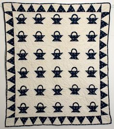 Baskets Crib Quilt: Circa 1880; New York
