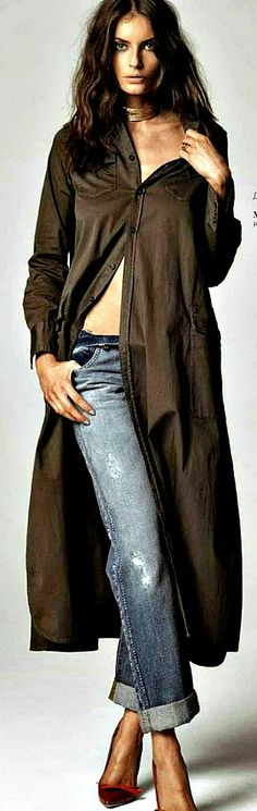 Combine cruise collection with denim: Dsquared2 shirt-dress;Roberto Cavalli jeans