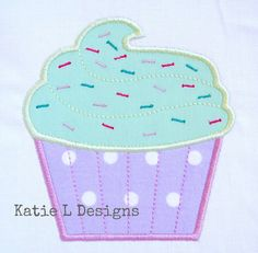 Cupcake Applique Machine Embroidery Design by KatieLDesigns, $3.00 for 4x4, 5x7, and 6x10