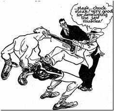 Willard Mullin sports cartoon...Boxer eating steak