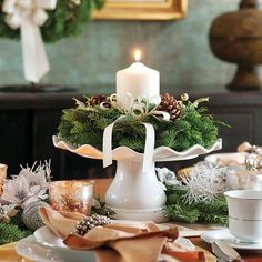 Cake Plate Holly Centerpiece - The perfect touch to make any table extraordinary. This product is no longer available, however click the image to see this year's Evergreen Centerpieces! Centerpiece Christmas, Christmas Tablescapes, Christmas Table Decorations, Christmas Candles, Christmas Love, Winter Christmas, Christmas Crafts, Deco Floral, Deco Table