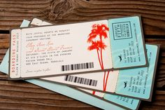 New Boarding Pass Invitation set. This set matches my palm tree save the date tags. Great for a destination wedding. If you need another design please