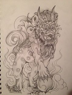 Foo dog tattoo design by relentless-giff.deviantart.com on @DeviantArt