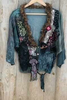 Forest lake cardi- bohemian, tribal, shabby chic,vintage laces, antique textiles,hand embroidered and beaded
