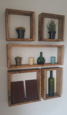 Square and Rectangular Shelf Set - Set of 5 shelves - In this arrangement, the entire configuration measures 25 X 38 - I am able to do custom Diy Wooden Shelves, Decor, Pallet Decor, Shelves, Diy Furniture, Wood Diy, Wooden Box Shelves, Pallet Wall Shelves, Rustic Wall Shelves