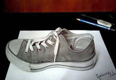 Creative 3D Drawing! (The original paper was bigger and cut down around the shoe to give it the 3D effect)